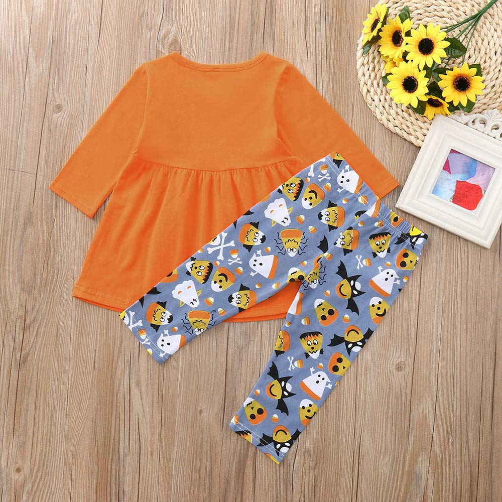 Star/_wuvi Tops Toddler Baby Girl Long Sleeves Print T-Shirt Tops Pants Outfit Clothes Halloween Suit Set