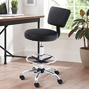 MAISON ARTS Office Desk Chair Adjustable Swivel Rolling Stool with Wheels Armless Drafting Task Chair with Foot Rest and Back Support for Home Office Bar Kitchen Shop Salon Spa Massage Medical, Black