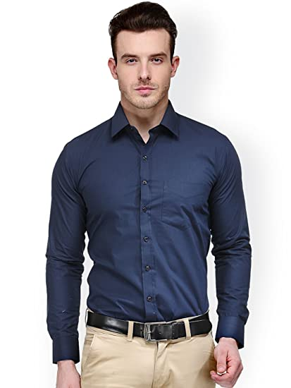 ded6884bd696a Oshano Mens Casual Navy Blue Shirt  Amazon.in  Clothing   Accessories