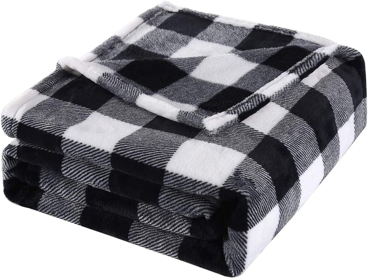 Bobor Buffalo Plaid Throw Blanket for Couch Bed, Christmas Flannel Fleece Red Black Checker Plaid Decorative Throw, Fuzzy, Fluffy, Plush, Soft, Cozy, Warm Blankets