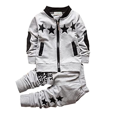 5d888716f57cb BibiCola Baby Boy Clothes Toddler Boys Outfits Suit Bebe Star Clothing Set  Cotton Long Sleeve T-Shirt+Pants (2T, Gray): Amazon.co.uk: Clothing