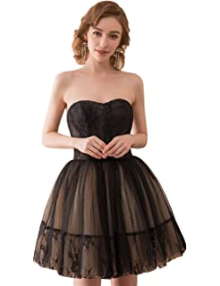 Sarahbridal Women Short Prom Dresses Strapless Tulle Party Mini Dress SQS048