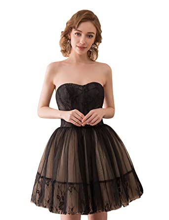 Sarahbridal Women Short Prom Dresses Strapless Tulle Party Mini Dress SQS048 Black Size UK 6