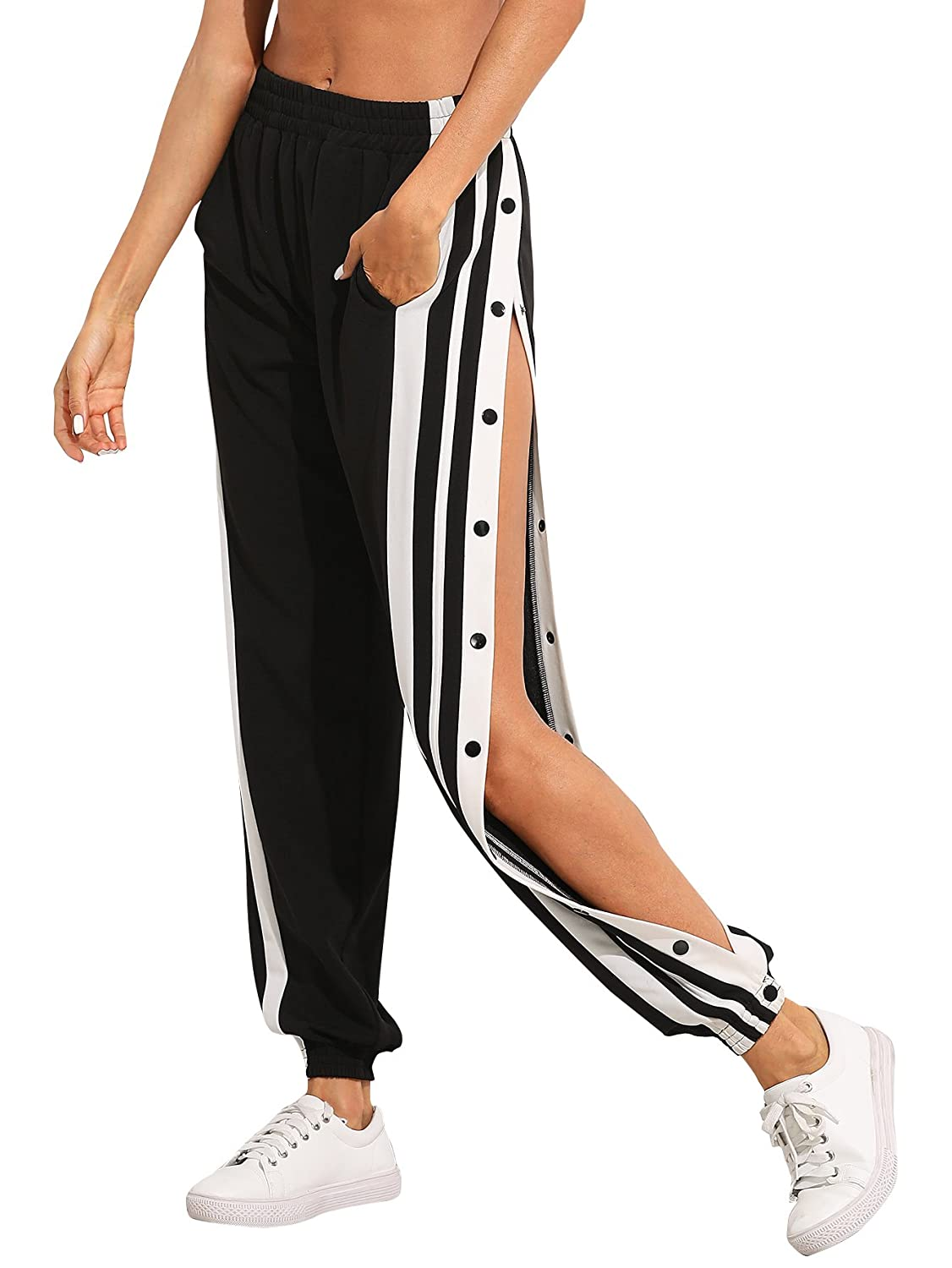 bea144ebf2f SOLY HUX Women s Sporty High Split Side Striped Joggers Snap Button Track  Pants at Amazon Women s Clothing store