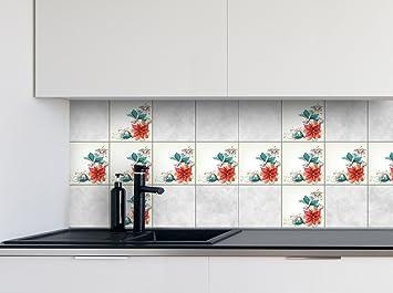 Küche Fliesen Aufkleber Rote Blume Vinyl Film Für Badezimmer Wand Fliesen  Ideen Verschiedene Größen   16pcs