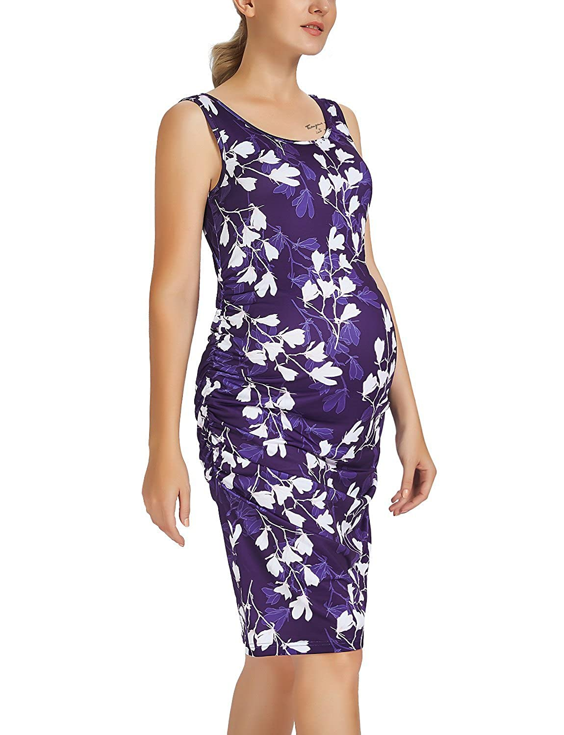 Purple With White Flower Maternity Tank Dress Ruched Sleeveless Mama Dress Pregnancy Baby Shower Dress