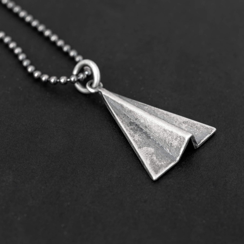 925 Sterling Silber Halskette f/ür M/änner Anh/änger f/ür M/änner Halskette Anh/änger Papier Flugzeug Halskette Kette Halskette Origami Schmuck oxidiert Mens Geschenk