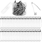 Acmer 100 Pieces 2 Inches Curved Safety Pins Quilting Basting Pins with Plastic Cases, Nickel-Plated Steel