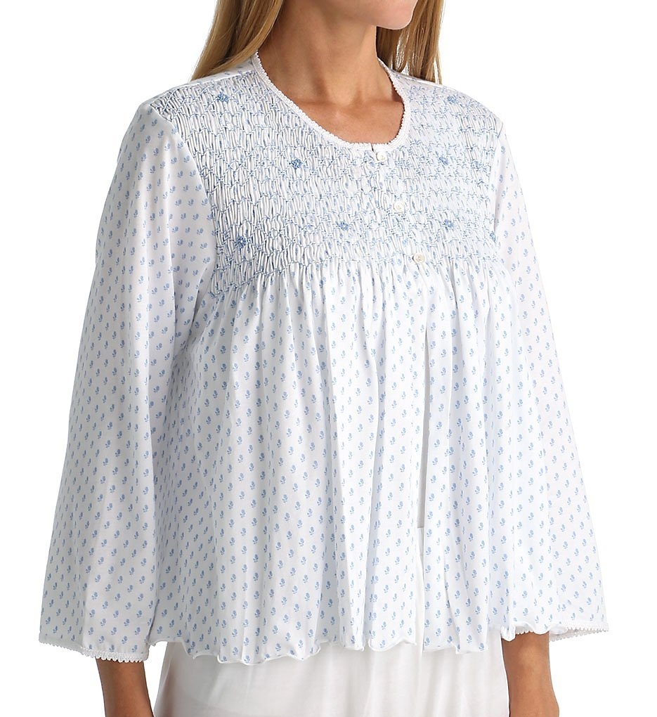P-Jamas Heirlooms Bed Jacket (Marisol) L/White/Blue by P-Jamas