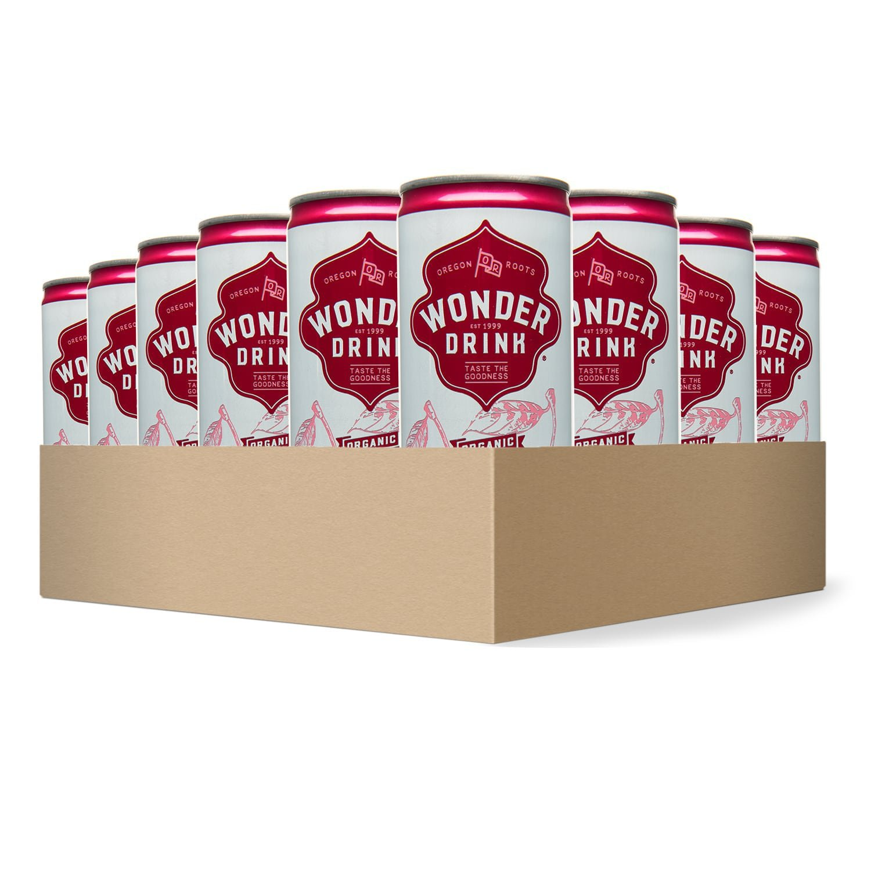 Wonder Drink Kombucha, Organic Cherry Sparkling Fermented Tea, 8.4oz Can (Pack of 24)