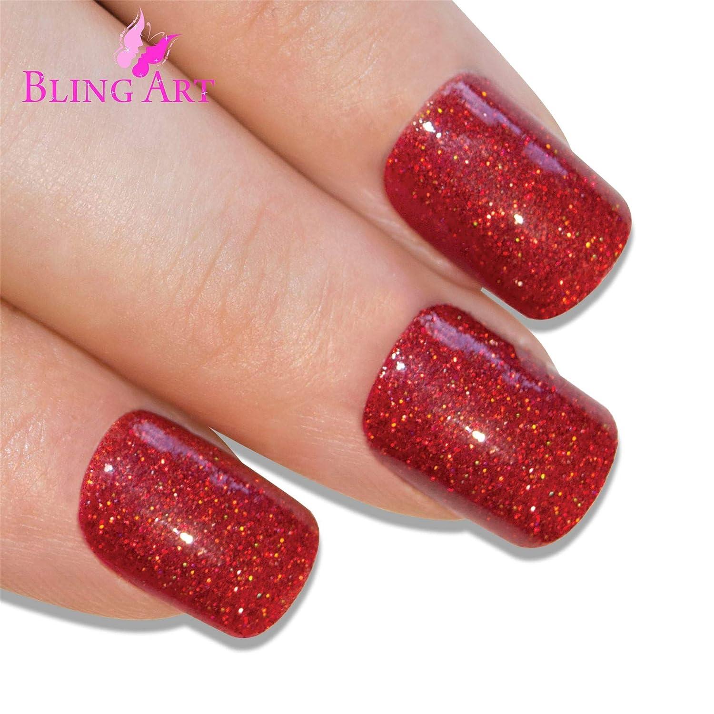 Uñas Postizas Bling Art Rojo Gel 24 Squoval Medio Falsas puntas acrílicas con pegamento: Amazon.es: Belleza