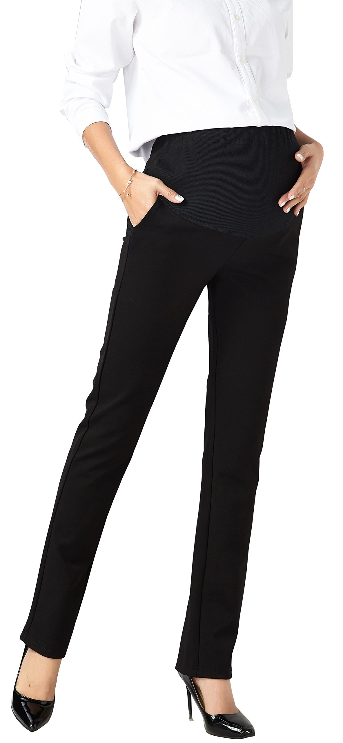 Foucome Womens Maternity Bootcut Stretch Career Dress Pants Work Office Over-bump Trousers Black