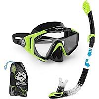 Seaview 180° Kradan Snorkel Set. Wide View Panoramic Tempered Glass Diving Snorkel Mask w/Adjustable Strap & Dry Valve…