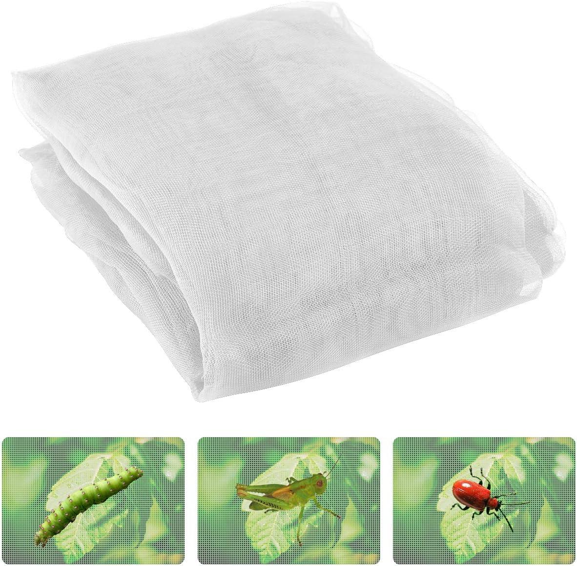 Anphisn 2 Pack Garden Insect Screen Insect Barrier Netting Mesh Bird Netting 9.8ft 6.5 ft White