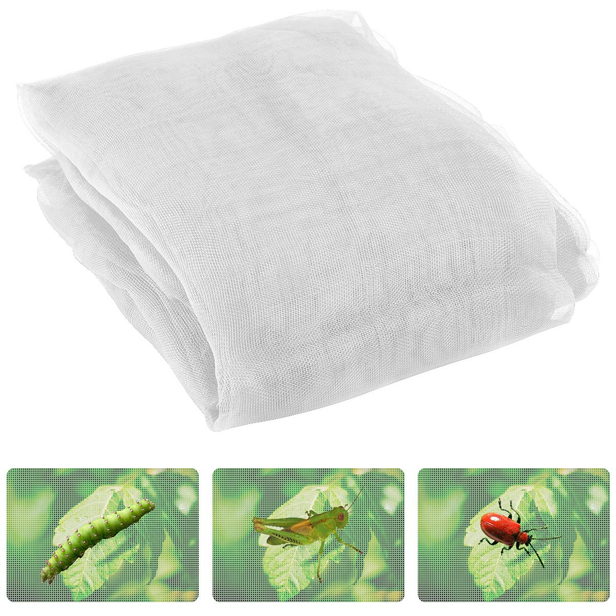 Anphisn ANPHSIN 2 Pack Garden Insect Screen Insect Barrier Netting Mesh Bird Netting 9.8ft × 11.4ft (White)