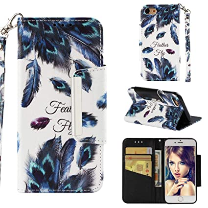 Firefish Case for iPhone 7/8,3D Printing Kickstand PU Leather Wallet Case with