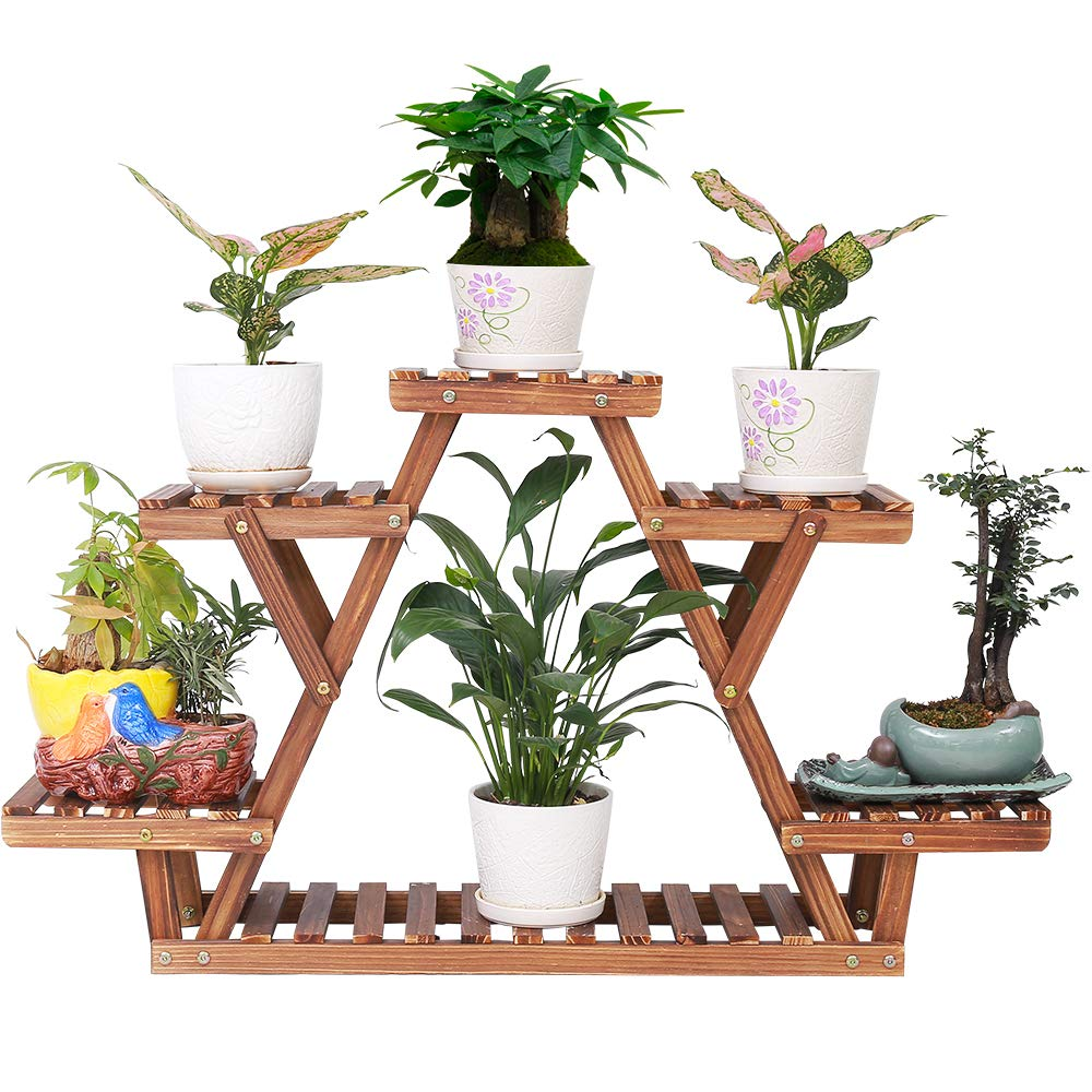 Pine Wood Plant Stand Indoor Outdoor Carbonized Triangle 6 Tiered Corner Plant Rack Shelf Holder for Balcony Garden Flower Pot Storage Organizer (Upgrade Screw with Nut Gasket Heavy Duty,Stable) by ISINO