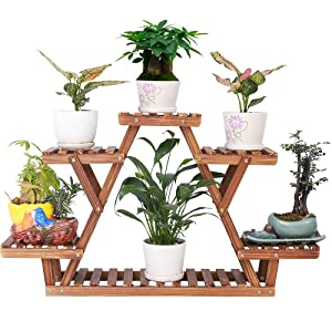 Pine Wood Plant Stand Indoor Outdoor Carbonized Triangle 6 Tiered Corner Plant Rack Shelf Holder for Balcony Garden Flower Pot Storage Organizer (Upgrade Screw with Nut Gasket Heavy Duty,Stable)