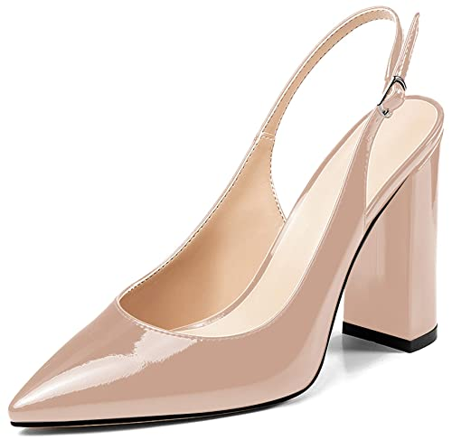 buying now the latest so cheap Amazon.com | Eldof Womens Slingback Pumps,4 Inches Chunky ...