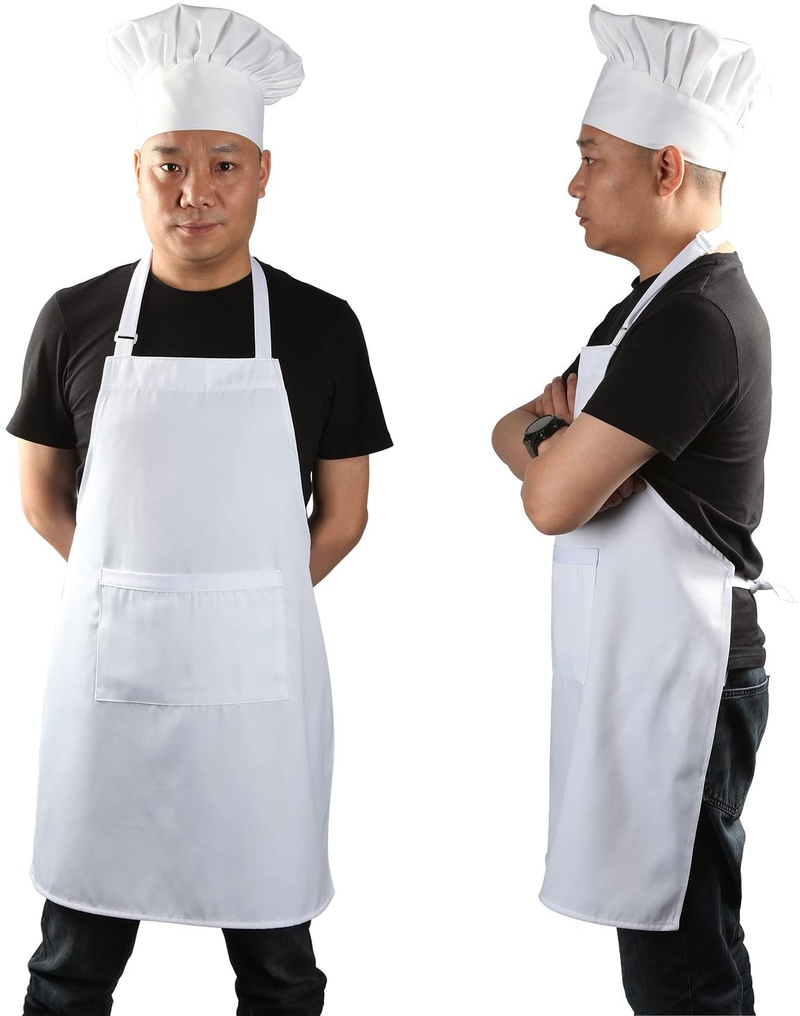 Amazon Com Chef Apron Set Chef Hat And Kitchen Apron Adult Adjustable White Apron Baker Costume For Men And Women 1 Set 33 L X 26 W Kitchen Dining