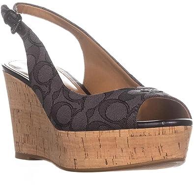 b678c1961027 Coach Womens Ferry Peep Toe Casual Platform Sandals Black Smoke Black Size  8.5 M US