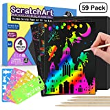 POKONBOY Rainbow Scratch Paper Art Kits for Kids, 50 PCS Rainbow Scratch Art Paper with 5 Wooden Styluses and 4 Stencils - Scratchboard Arts and Crafts for Girls Kids Birthday Easter Party Game