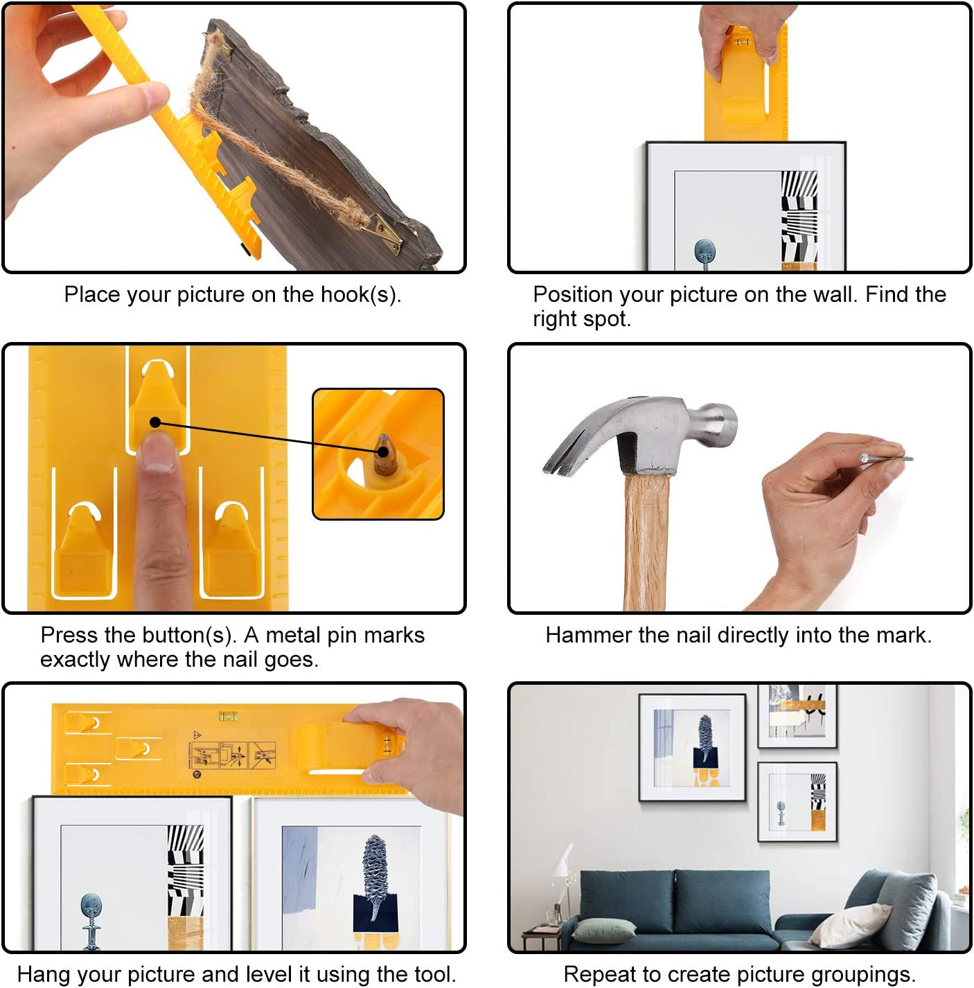 Upgraded Yellow Picture Hanging Tool Picture Frame Hanger Tools with Level Multifunctional Level Ruler for Hanging Pictures Artwork and Socket Clocks Mirrors