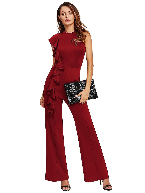 4c4d168b4dcd Amazon.com  Romwe Women s Asymmetrical Flounce Jumpsuit Sleeveless Wide Leg  Maxi Jumpsuit  Clothing