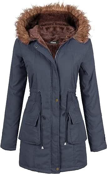 iClosam Abrigo para Mujer CláSico Cuello Redondo Espesar Abajo Chaqueta Mujer OtoñO Y Invierno BotóN SuéTer Pullover Outwear