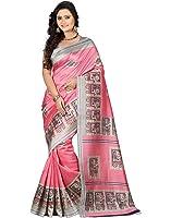 E-Vastram Women's Art Mysore Printed Silk Saree (Ns3A_Pink_Free Size)