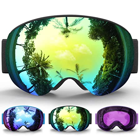 findway Kids Ski Goggles, Kids Snow Snowboard Snowboarding Sports Goggles Glasses – for Youth, Kids Teenagers OTG Over Helmet Compatible – Anti-Fog 100 UV Protection, Anti-Glare Ski Goggles