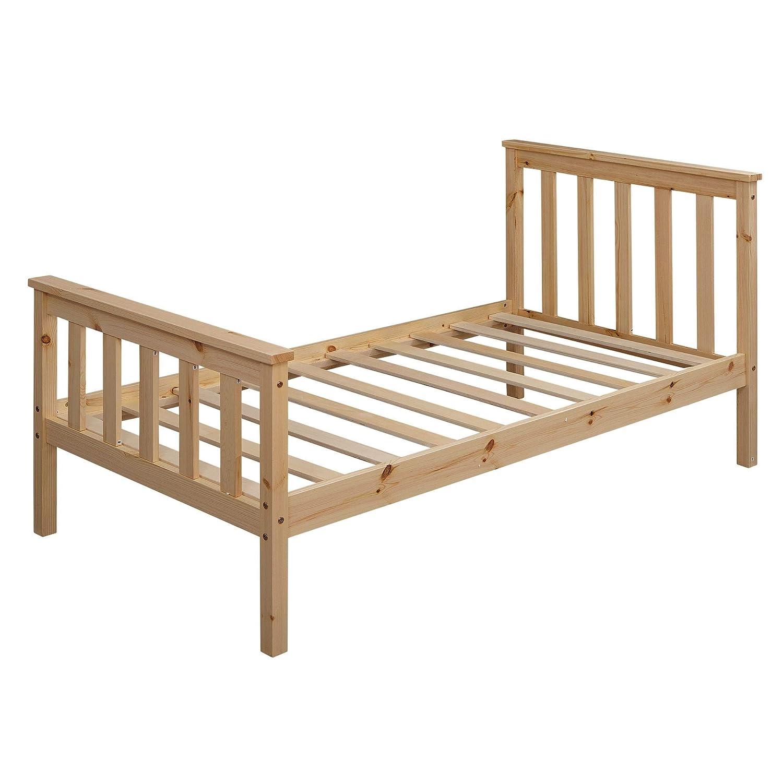 Bett f/ür Kinder Einzelbett FineBuy Kinderbett 160x80 cm aus Kiefer Holz Natur mit Lattenrost Schlafbett Bettgestell Jugendbett