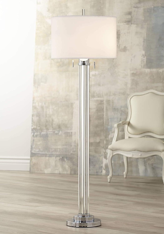 Cadence Modern Floor Lamp Steel Crystal Glass Column Linen Drum Shade for Living Room Reading Bedroom Office – Possini Euro Design