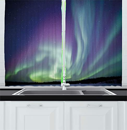 Ambesonne Aurora Borealis Kitchen Curtains, Exquisite Atmosphere Solar Starry Sky Calming Night Image, Window Drapes 2 Panel Set for Kitchen Cafe Decor, 55 X 39 , Dark Blue Mint Green Violet