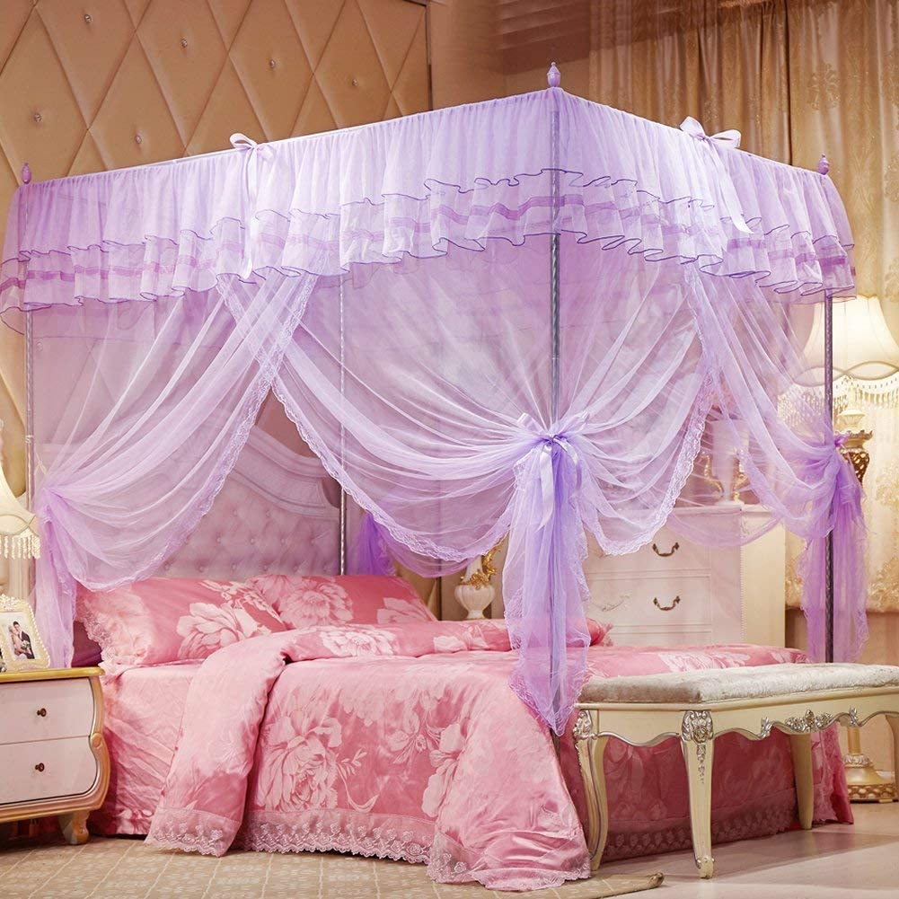 Uozzi Bedding 4 Corners Post Purple Canopy Bed Curtain For Girls Adults Cute Cozy Drape Square Netting For Twin Bed 4 Opening 47 W X 78 L Mosquito