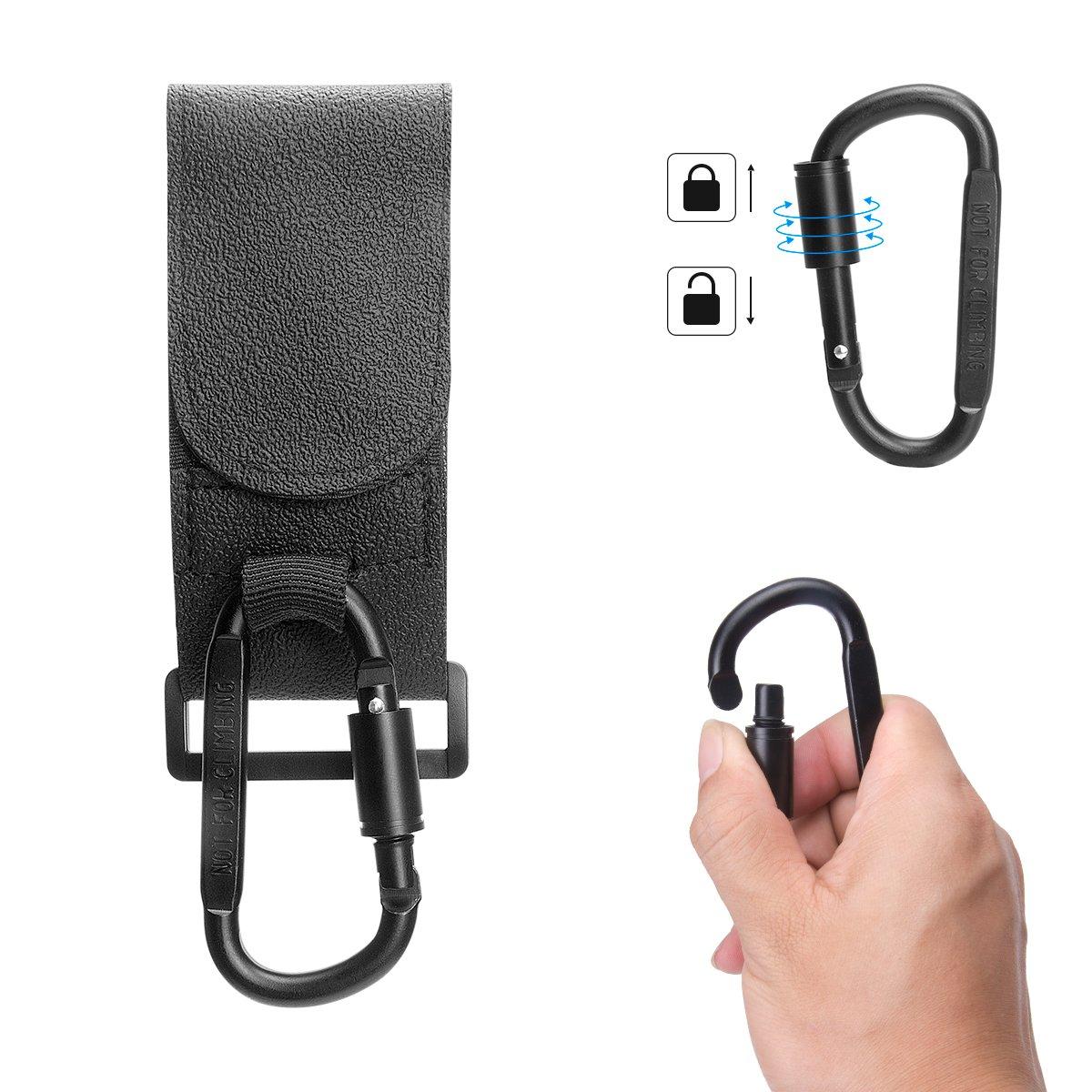 Stroller Hook Set, Pack of Handy Pram Hook Buggy Hanger Clip + Stroller Net Bag for Baby Diaper Bags Groceries Clothing Purse Stroller Accessories Kit Hangs for Jogging Walking/Shopping by fantaseal (Image #4)