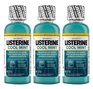 Listerine Mouthwash Cool Mint Antiseptic Bad Breath Travel Size 3.2oz (3-Pack)