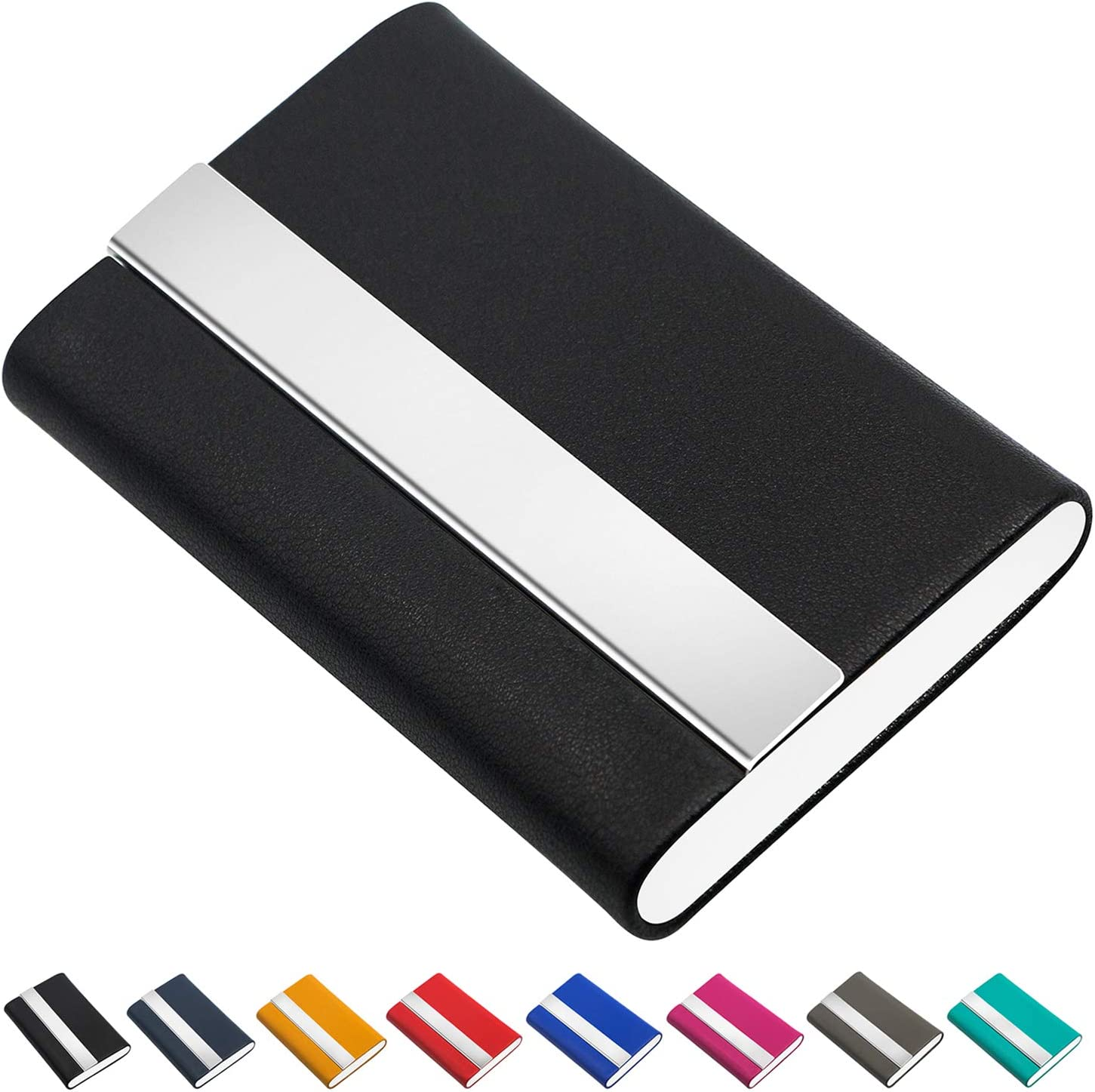 Padike Business Card Holder, Business Card Case Luxury PU Leather &  Stainless Steel Multi Card Case,Business Card Holder Wallet Credit Card ID