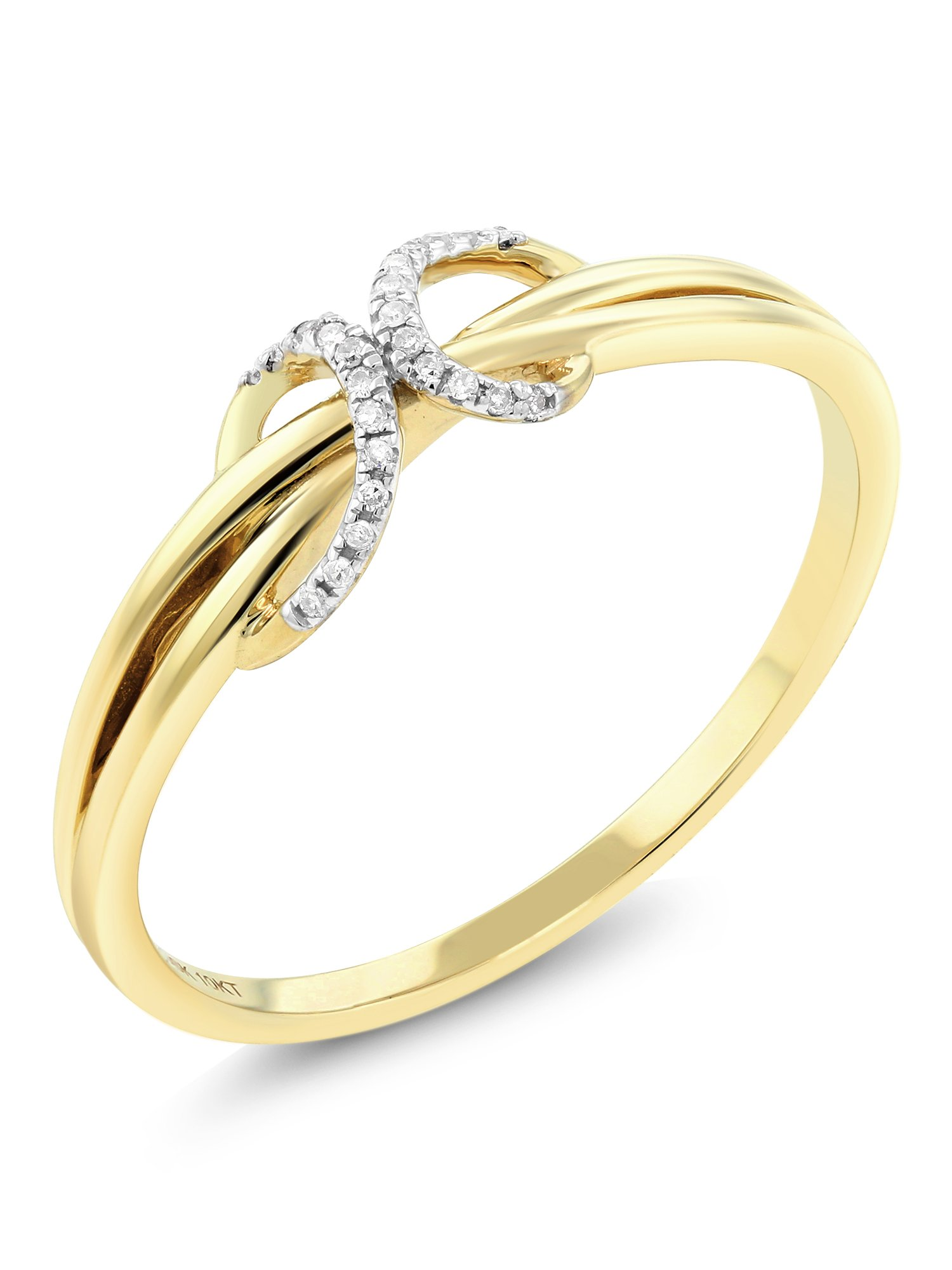 10K Solid Yellow Gold White Diamond Anniversary Wedding Band 0.036 cttw, I-J Color, I1-I2 Clarity, Ring) (Size 7)