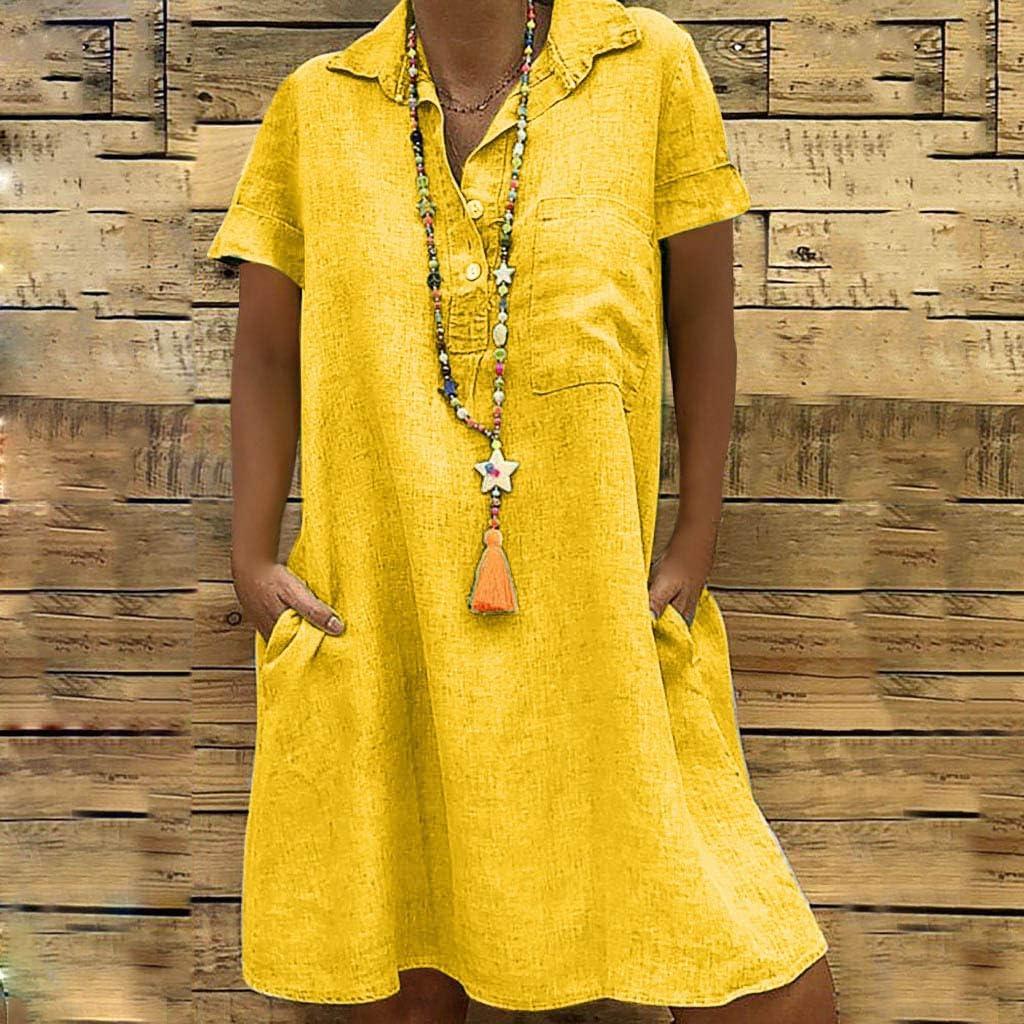 Auifor Frauen Sommer Strandkleider Baumwolle l/ässig Plus gr/ö/ße Leinen Kleid f/ür den V-Ausschnitt Casual im Boho Look Einfarbig A-Linie Knielang Ohne Zubeh/örStrand Elegant Sommerkleider