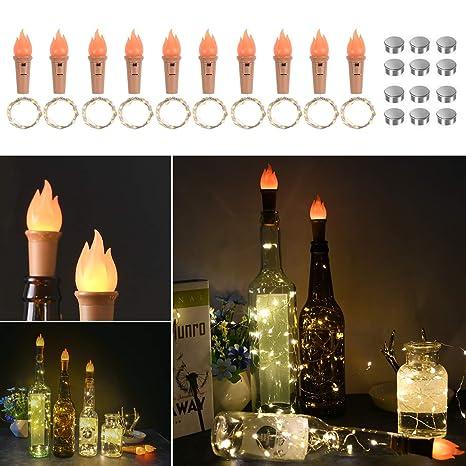 Vicloon Luces de Botellas, LED Corcho Luces Blanco Cálido con Corcho de Llamas y Baterias de Repuesto, Lámparas Decoradas para Decoración Interior, ...