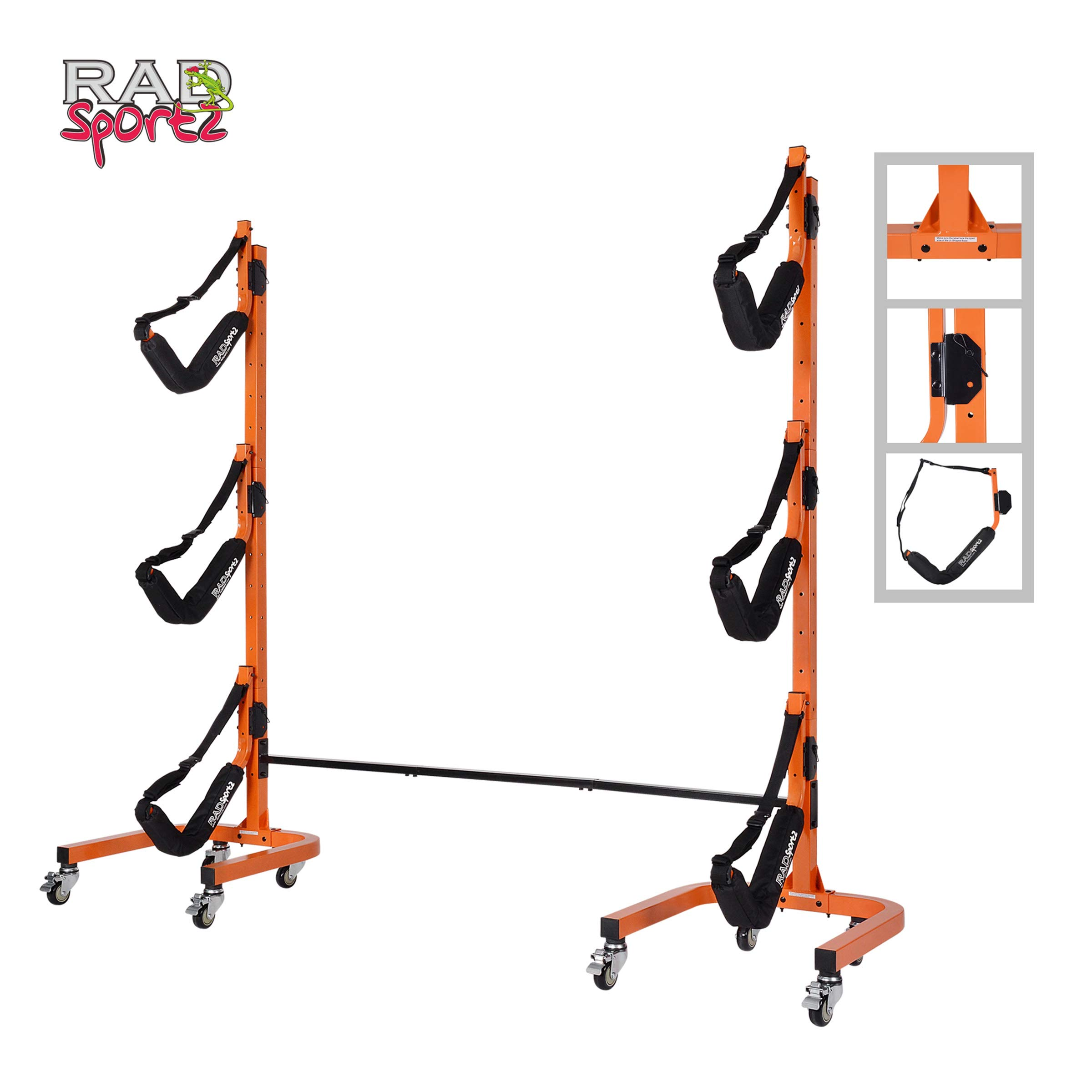 Rad Sportz Rolling Rack Storage-Self Standing Three Canoe Kayak Cradle-Adjustable Safety Strap and Wheels for Mobility-Indoor Outdoor use