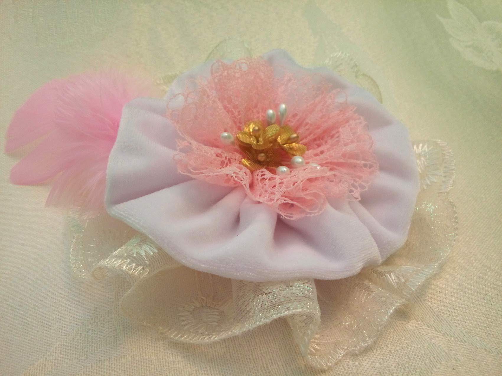Light Pink White Velvet Lace Fabric Flower Large Brooch 6''