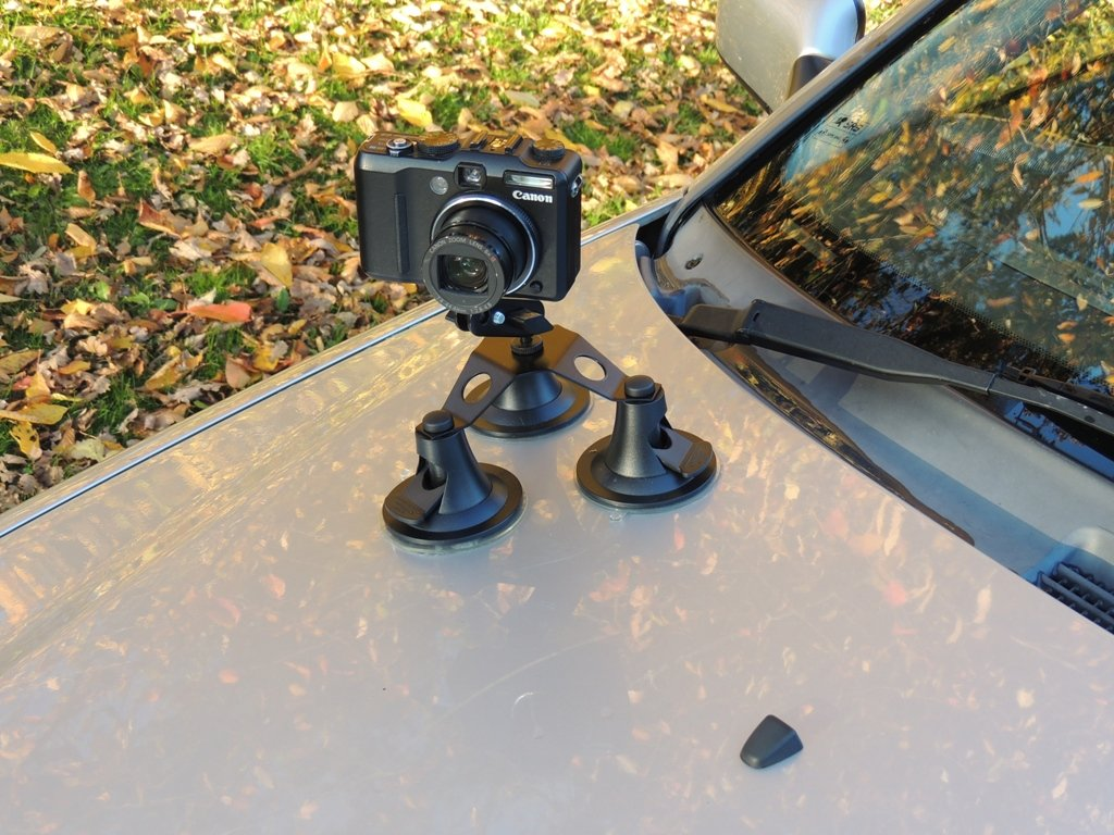 Car Camera Mount Suction Cup Vacuum for Digital Cameras, Camcorders, Bullet Cameras with 1/4 inch thread and Pivot Arm Mount