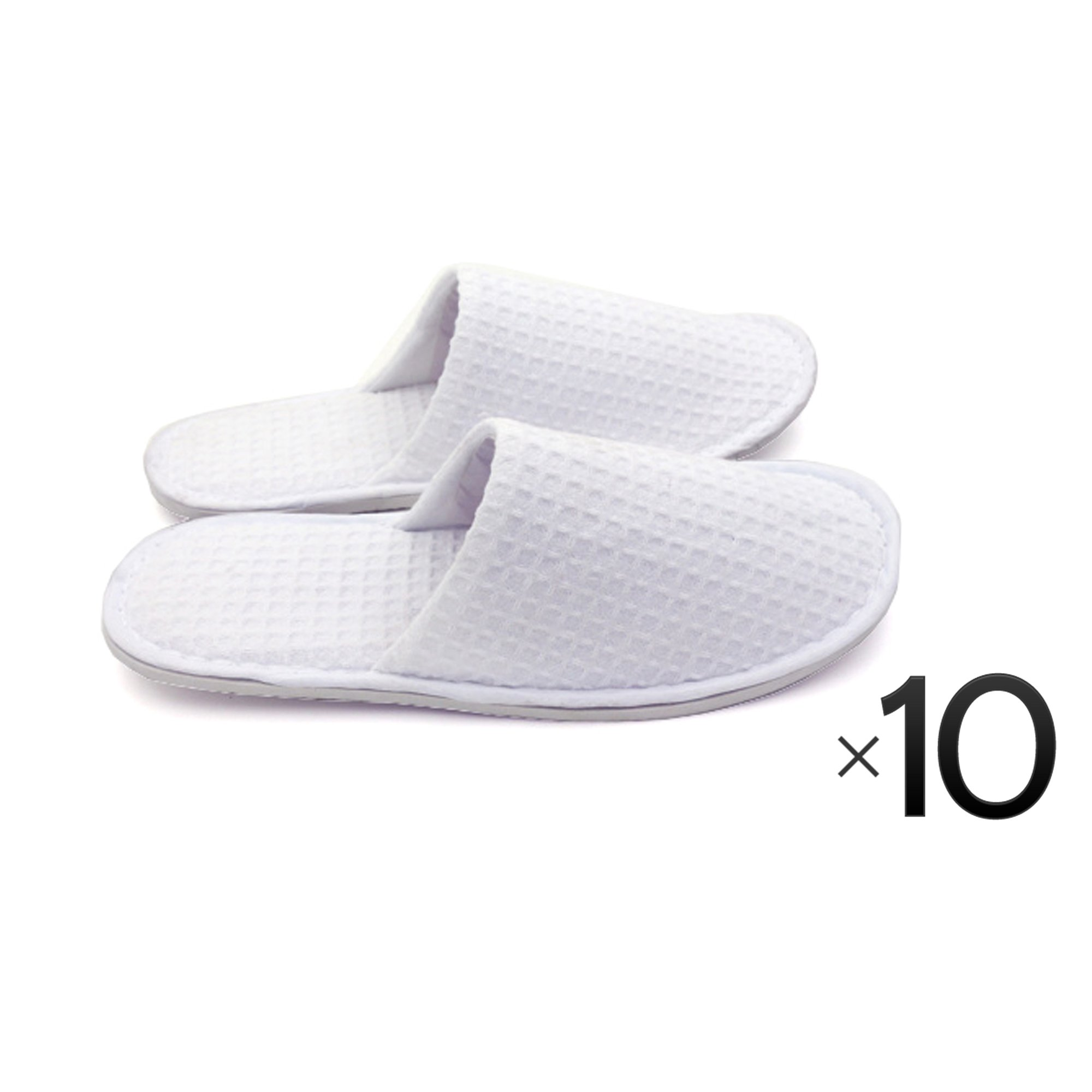 Waffle Cotton Cloth Slipper Slippers Salon Spa Hotel Men Women Closed Toes - 10 Pairs - White by Project E Beauty