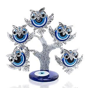YU FENG Turkish Blue Evil Eye Owl Figurines Money and Evil EyeTree Statue Home Decor Ornaments