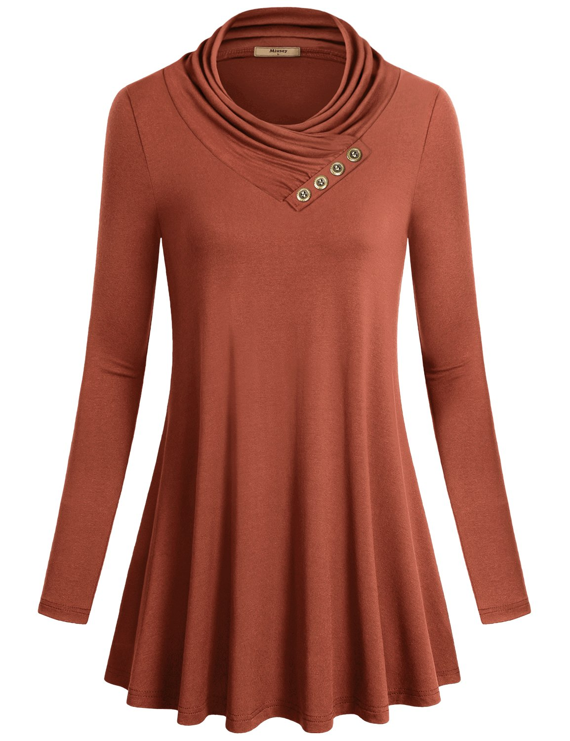 922adaadbbc64 Galleon - Miusey Boutique Clothing, Women Long Sleeve Cowl Neck A Line Loose  Fit Comfy Draped Flowy Tunic Casual Top Rust Medium