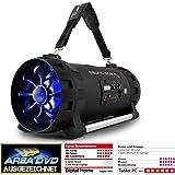 """auna Soundstorm • Ghettoblaster • Boombox • Bluetooth- / NFC-Schnittstelle • MP3-fähiger USB-Port • UKW-Radiotuner • 3,5-mm-Klinken-AUX-Eingang • LCD-Display • LED-Effektbeleuchtung • zwei 16,5""""-Breitbandlautsprecher • Akku • tragbar • schwarz / orange"""