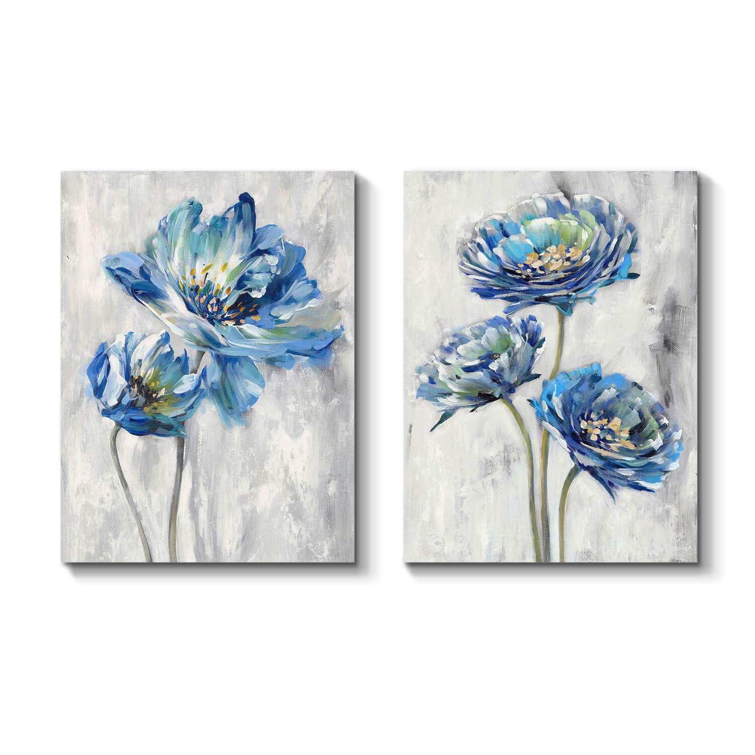 Blue Flower Artwork Canvas Picture: Floral Painting Bloom Wall Art Print on Canvas for Dining Room (16'' x 12'' x 2 Panels)