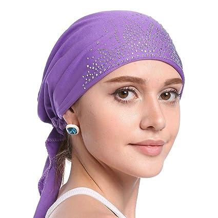 Tukistore Mujeres Musulman Stretch Sombrero del pañuelo Gorro Chemo Beanie Indian Turban Sombrero Gorros con decoración